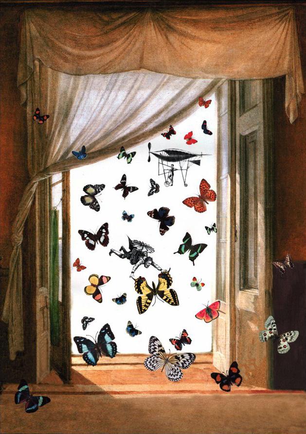 Farfalle - collage su stampa Fine-Art, tecnica mista. 74 x 55