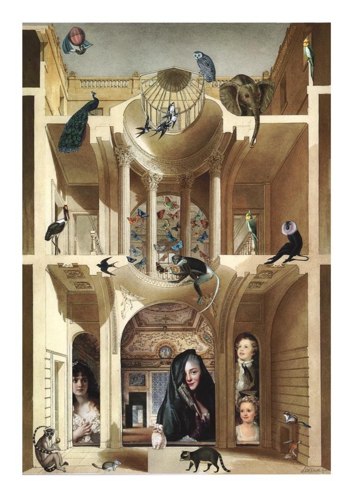 Bestiario - collage,tecnica mista 40 x 56