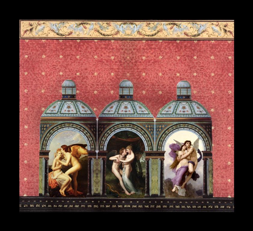 Amore e psiche: con inserimenti di Antonio Canova, Hugh Hamilton, William Bouguereau - Collage, tecnica mista, 32 x 32