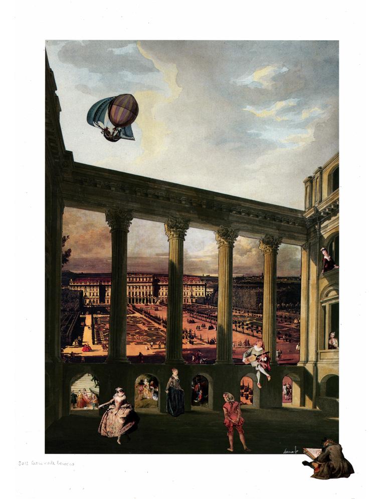Carnevale barocco - collage, tecnica mista 76 x 98