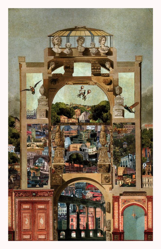 Volando, - collage, tecnica mista 37x64
