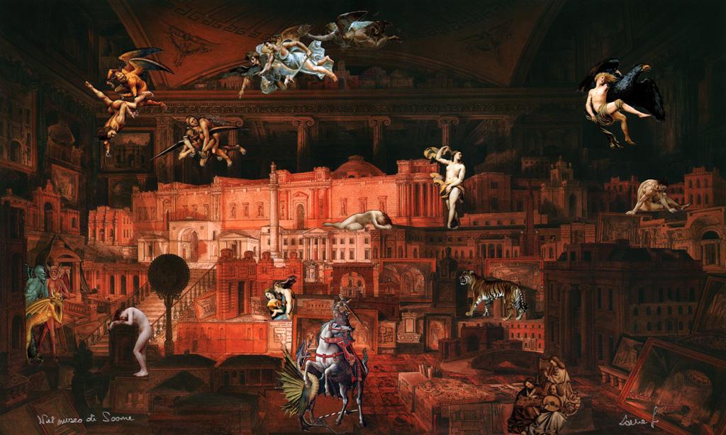 Nel museo di Soane - collage su stampa Fine-Art tecnica mista 39,88 x 35,29