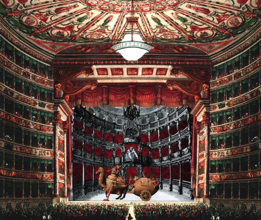 Teatro nel teatro - collage su stampa Fine-Art, tecnica mista. 58 x 49