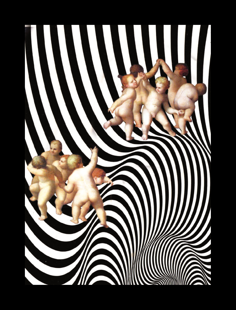 La danza dei putti in una grafica di Grignani: collage 17 x 22  senza passepartout