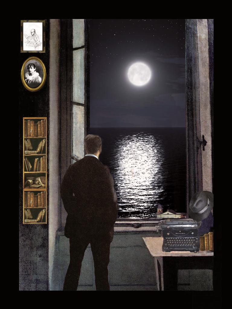 F.Pessoa - La luna - Teatrino 3D Collage in scatola di ayous, tecnica mista, 20 x 29 x 8