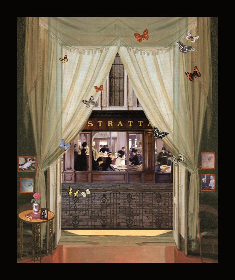 Guido Gozzano - Le golose - Teatrino 3D Collage in scatola di ayous, tecnica mista, 31,5 x 37 x 8