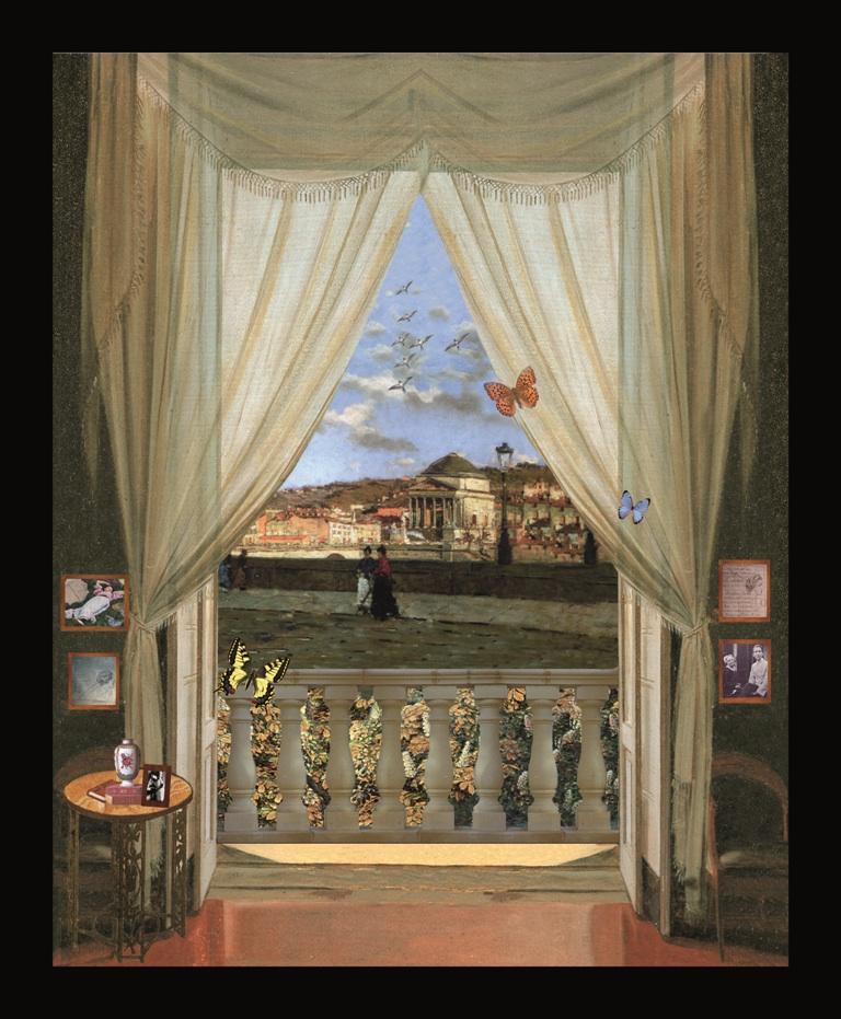 Guido Gozzano - Torino - Teatrino 3D Collage in scatola di ayous, tecnica mista 32 x 39 x 8