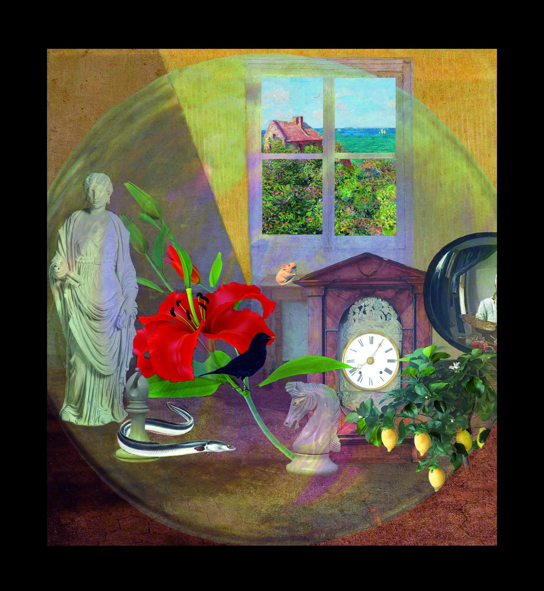 Eugenio Montale - Elegia - Teatrino 3D  Collage in scatola di ayous, tecnica mista, 24,5 x 26,5 x 8