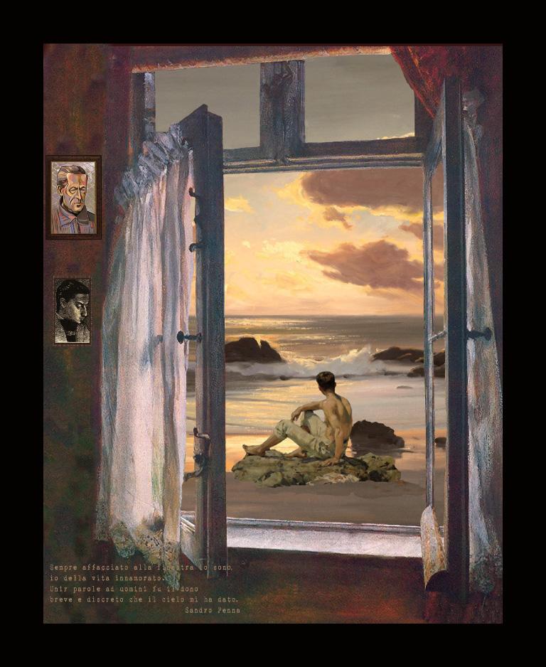 Sandro Penna - Dalla finestra - Teatrino 3D Collage in scatola di ayous, tecnica mista, 25 x 30 x 8