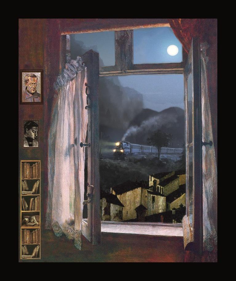 Sandro Penna - Il treno - Teatrino 3D Collage in scatola di ayous, tecnica mista, dimensioni 28,5 x 34 x 8
