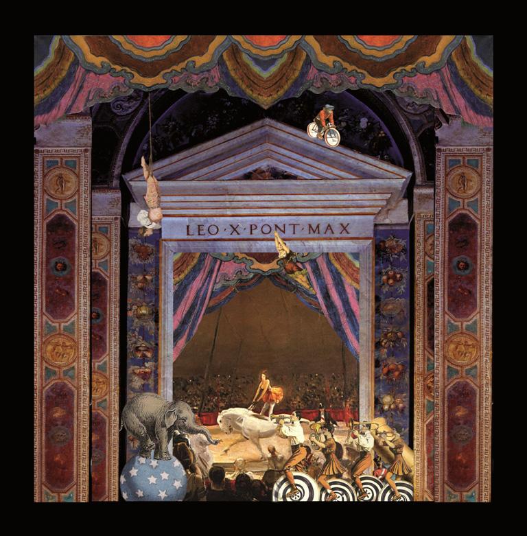 Circo Ripelliniano - Teatrino 3D Collage in scatola di ayous, tecnica mista, 37 x 32 x 8