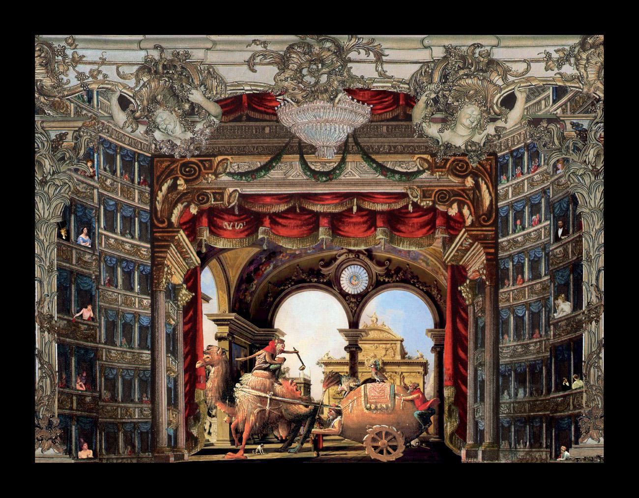 Il corteo magico - Il cammello – Teatrino 3D Collage in scatola di ayous, tecnica mista, 37 × 34 x 8