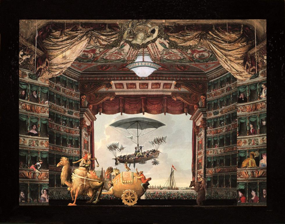 Corteo Magico - Il cammello - Teatrino 3D Collage in scatola di ayous, tecnica mista, 36 x 31 x 8