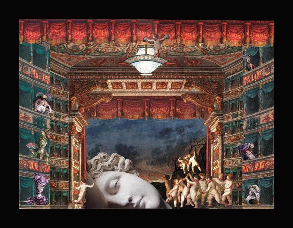 La danza degli amorini - Teatrino 3D Collage in scatola di ayous, tecnica mista, 35 x 32 x 8