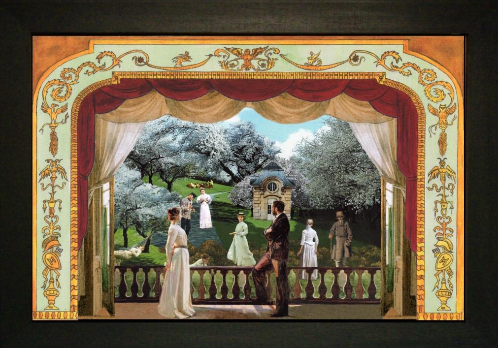 Il giardino dei ciliegi 3 - Teatrino 3D Collage in scatola di ayous, tecnica mista, 33 x 29 x 8
