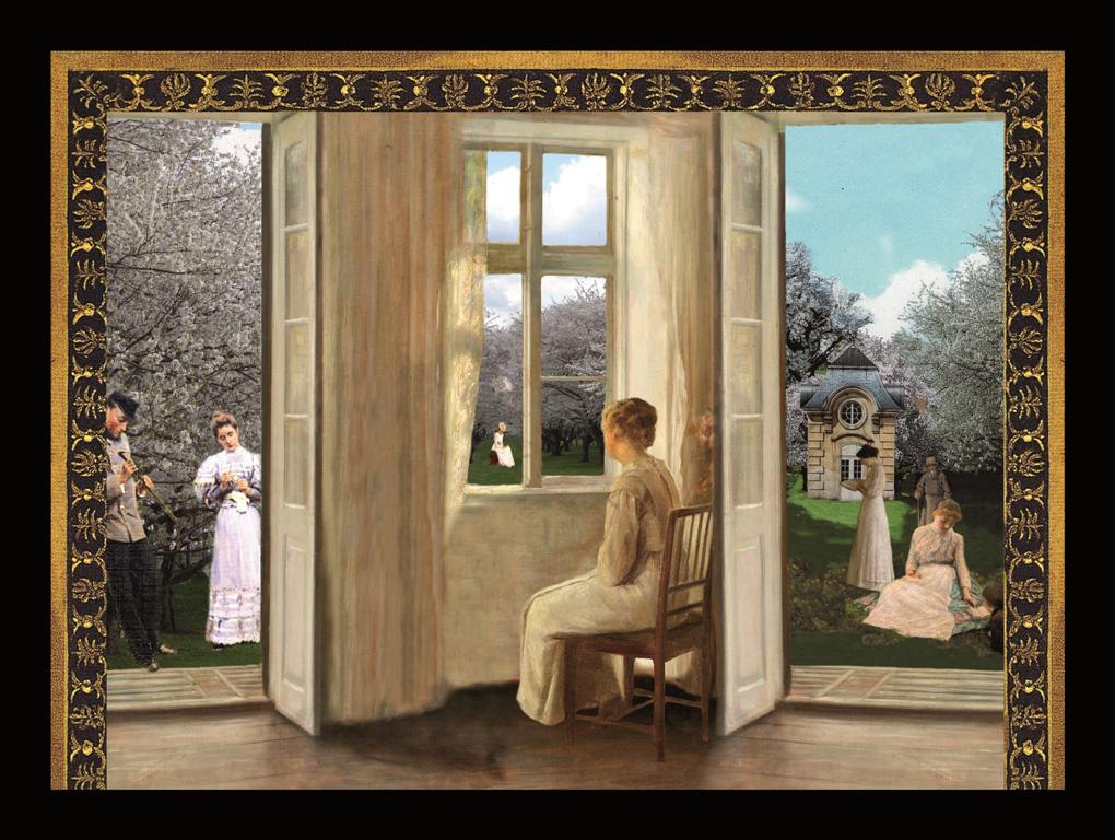 Il giardino dei ciliegi - Nella stanza - Teatrino 3D Collage montato in scatola di ayous, tecnica mista, dimensioni 42 x 33 x 8