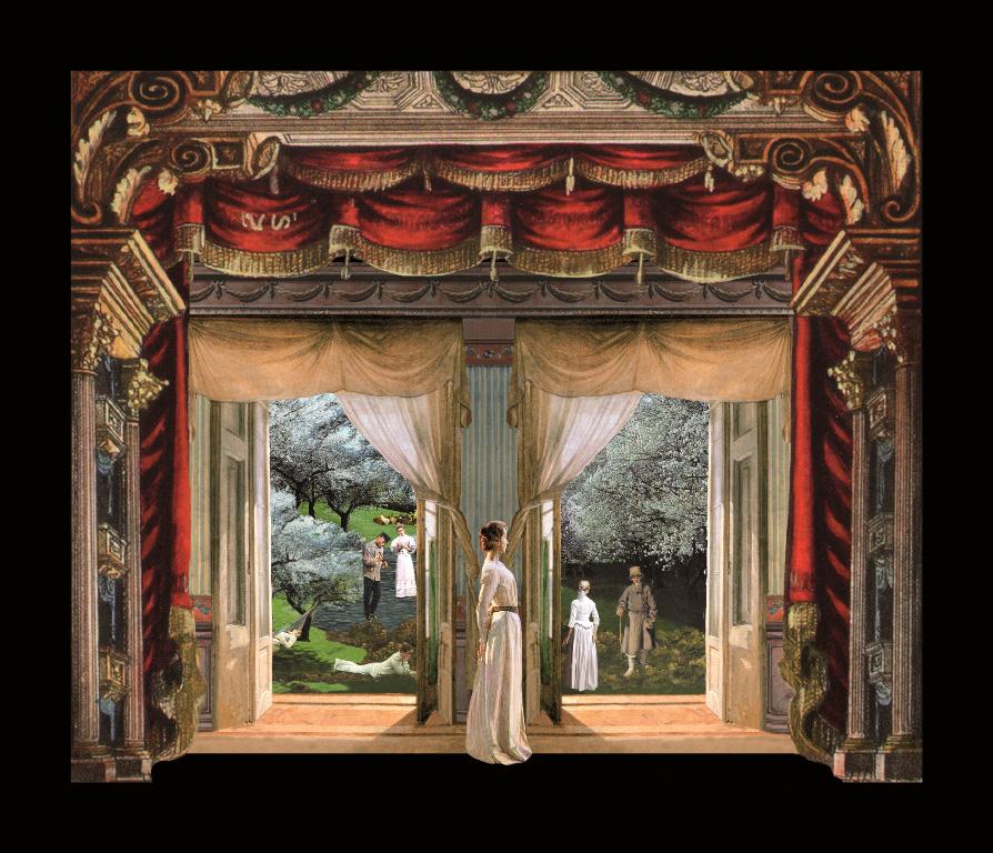Il giardino dei ciliegi, versione terza - Teatrino 3D Collage in scatola di ayous tecnica mista, 40 x 30 x 8