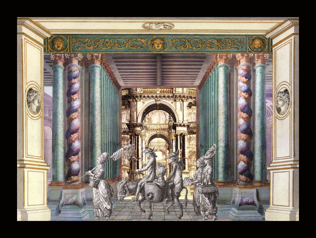 Teatrino barocco - L'asinello - Teatrino3D Collage in scatola di ayous, tecnica mista, 36 x 28 x 8