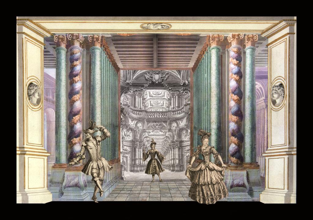 Teatrino barocco - Teatrino 3D Collage in scatola di ayous, tecnica mista, 36 x 28 x 8