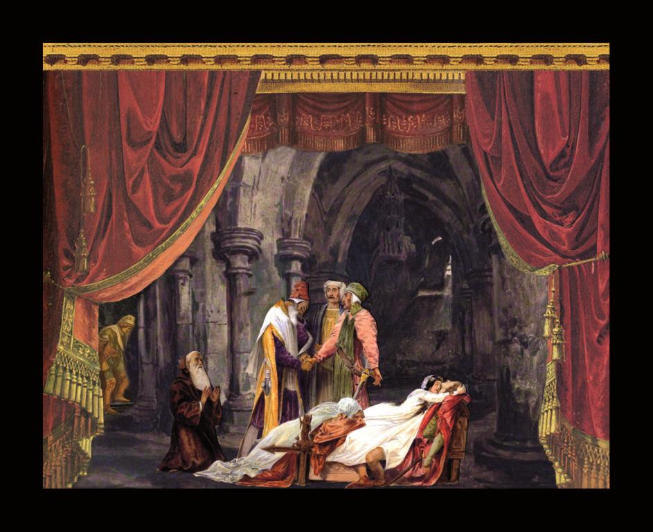 Romeo e Giulietta - La riconciliazione - Teatrino 3D  Collage in scatola di ayous, tecnica mista, 34 x 27 x 8