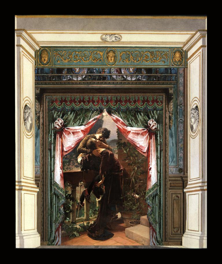 Romeo e Giulietta - Il bacio - Teatrino 3D  Collage in scatola di ayous, tecnica mista, 32 x 30 x 8