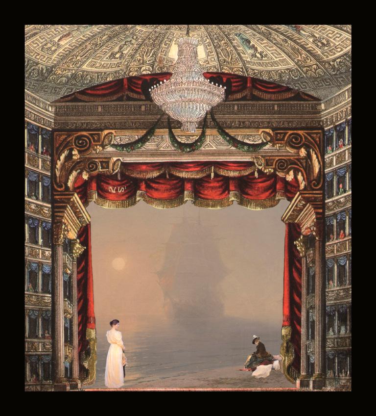 La nebbia - Teatrino 3D Collage in scatola di ayous, tecnica mista, 33 x 39 x 8