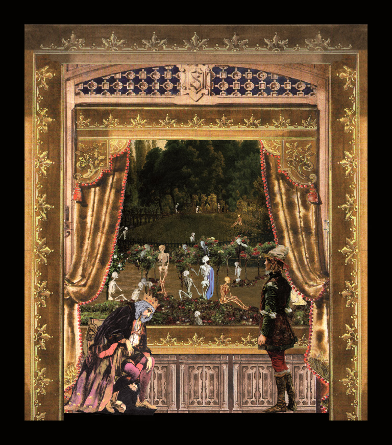 Andersen. Il compagno di viaggio - I pretendenti Teatrino 3D collage in scatola di ayous, tecnica mista, 27 x 30 x 8