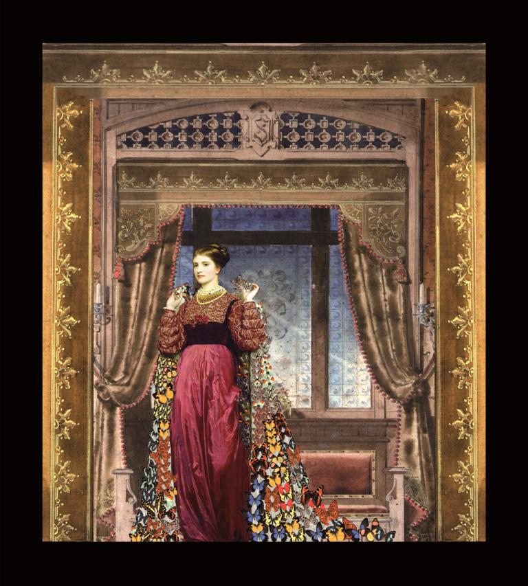 Andersen. Il compagno di viaggio - La principessa - Teatrino 3D Collage in scatola di ayous, tecnica mista, 25 x 27 x 8