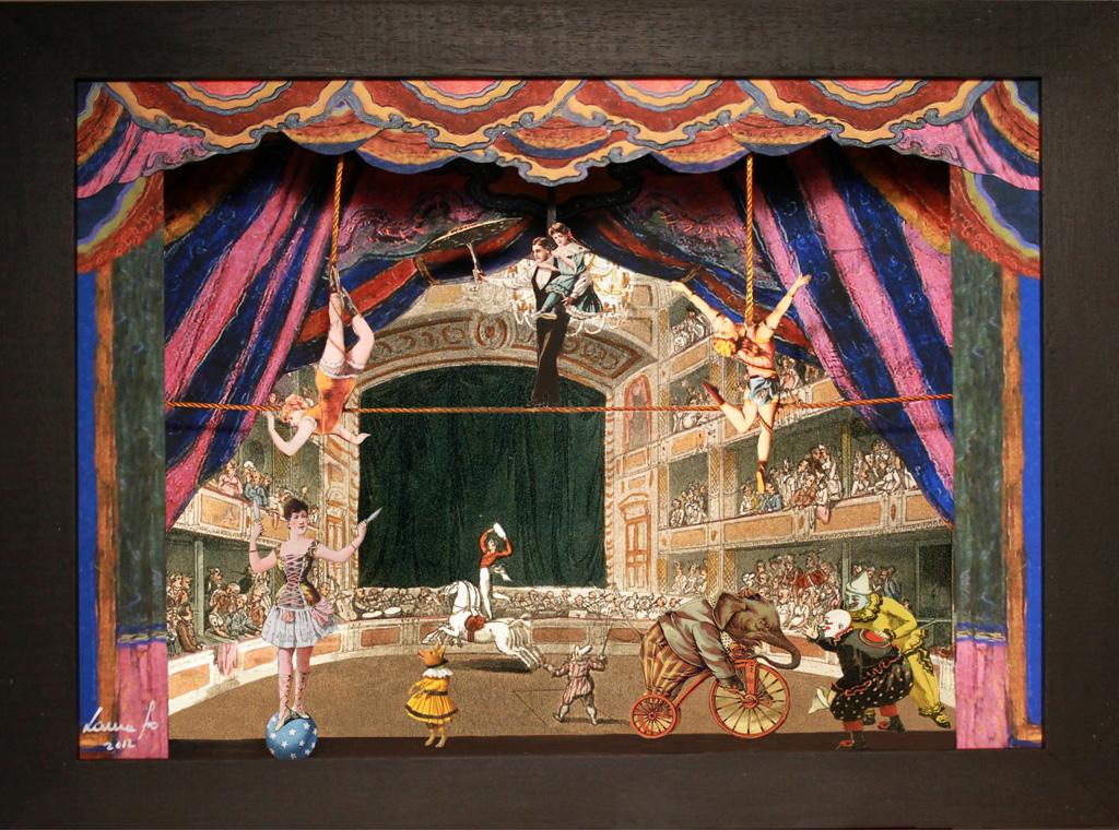 Piccolo circo - Teatrino 3D Collage montato in scatola di ayous, tecnica mista, 32 x 25 x 8