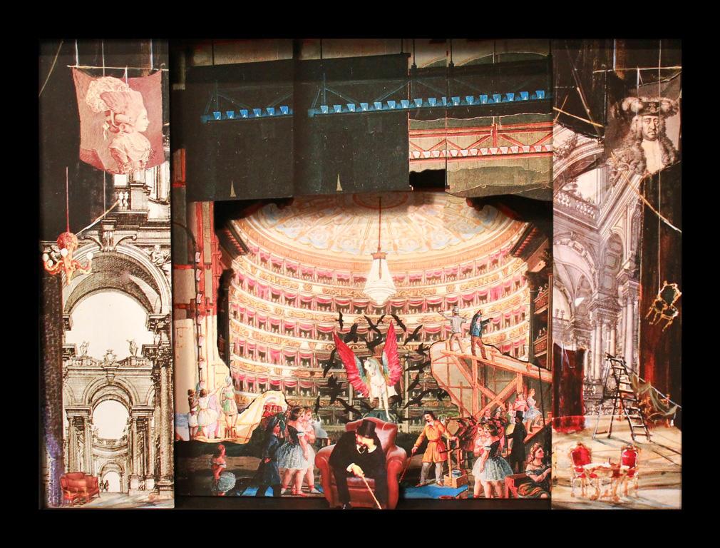 Dietro le quinte - Teatrino 3D Collage in scatola di ayous, tecnica mista, 39 x 30 x 8