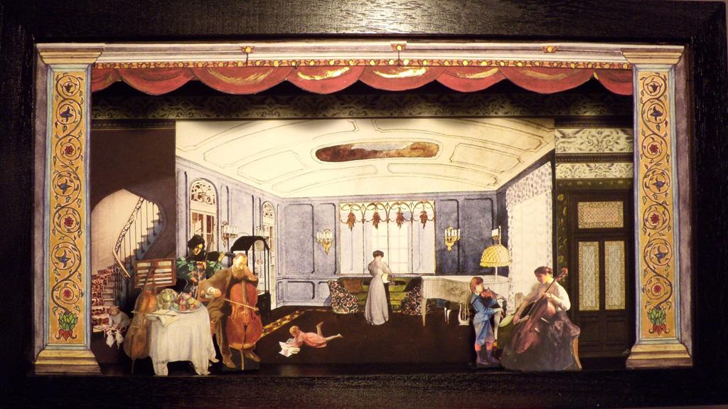 In famiglia tutti musicisti - Teatrino 3D Collage in scatola di ayous, tecnica mista 48 x 26,5 x 8