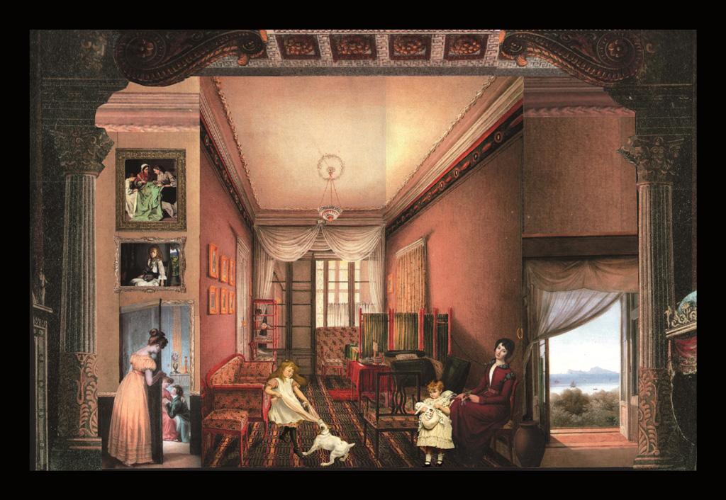 Dietro la porta - Teatrino 3D.  Collage, montato in scatola di ciliegio smaltata, tecnica mista, con illuminazione interna  44 x 32,5 x 8