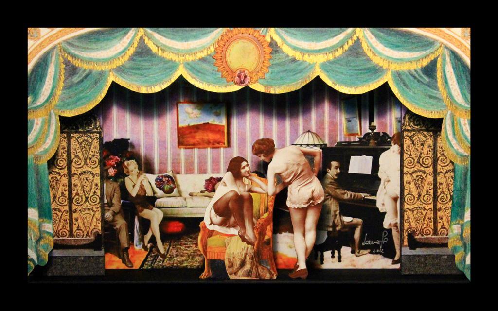 La casa d' appuntamenti 2 - Teatrino 3D Collage In scatola di ayous, tecnica mista, 35 x 23 x 8