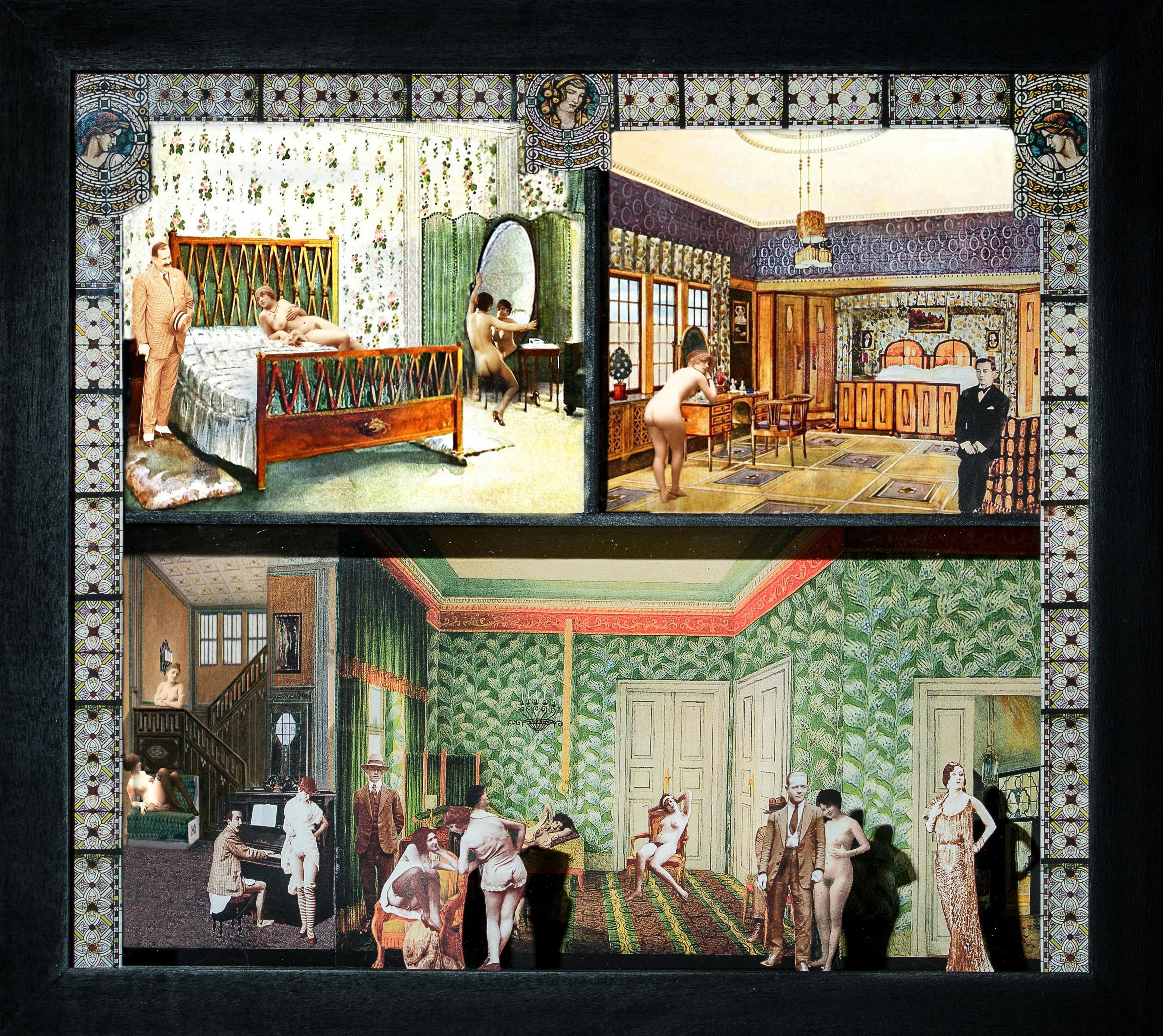La Casa d'appuntamenti 3 - Teatrino 3D Collage montato in scatola di ayous, tecnica mista, 33 x 29 x 8