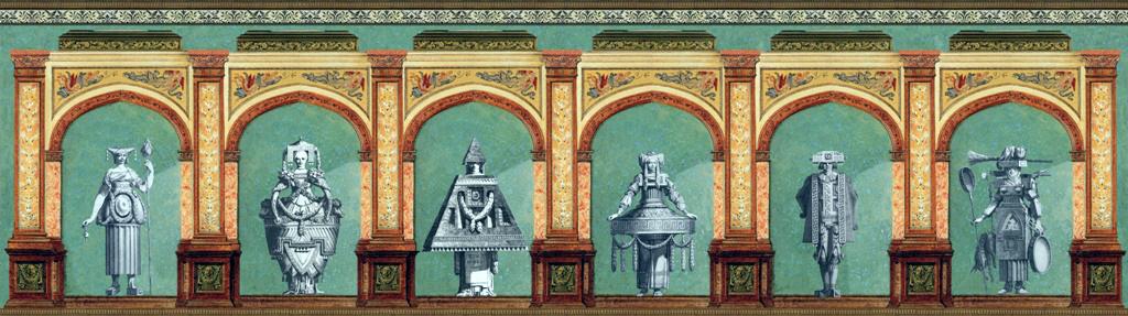 Petitot – collage, tecnica mista, 38 x 17