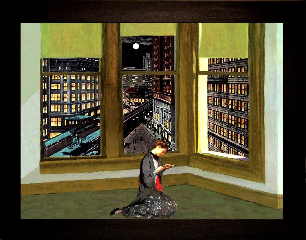 La  lettera- Teatrino 3D Collage in scatola di ayous, tecnica mista, 32 x 25 x 8
