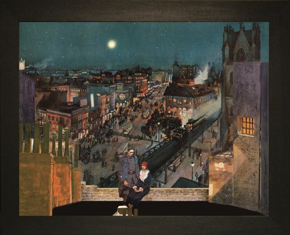 Notte sui tetti di New York - Teatrino 3D. Collage in scatola di ayous, tecnica mista, 35 x 28 x 8. jpg
