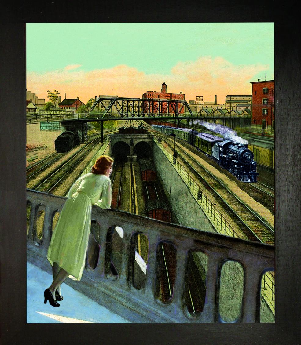 Detroit. Il treno -Teatrino 3D. Collage in scatola di ayous, tecnica  mista, 26 x 29 x 8
