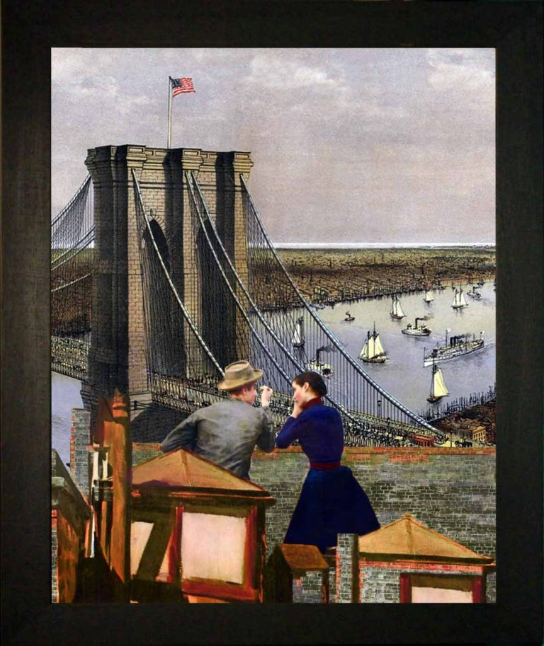 New York 1885 - Teatrino 3D. Collage in scatola di ayous, tecnica mista, 24,5 x 30 x 8