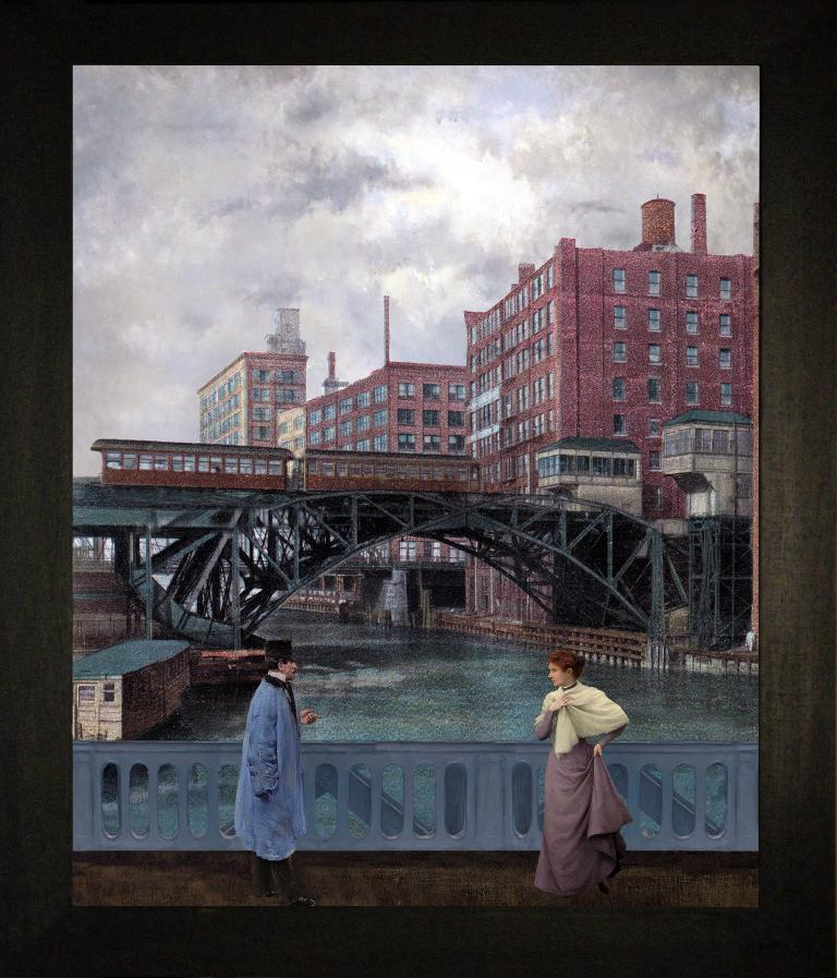 Autunno a Chicago, river-Teatrino 3D. Collage in scatola di ayous, tecnica mista, 27,5 x 31 x 8  -1