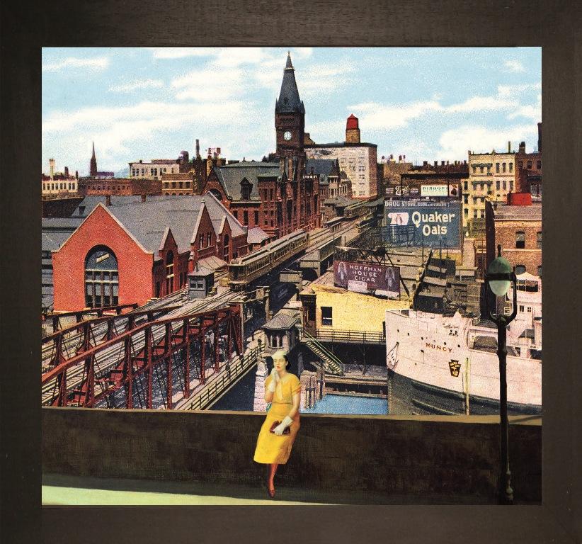 La partenza. Well street bridge, Northwestern station Chicago - Teatrino 3D. Collage in scatola di ayous, tecnica mista, 33 x 28 x 8