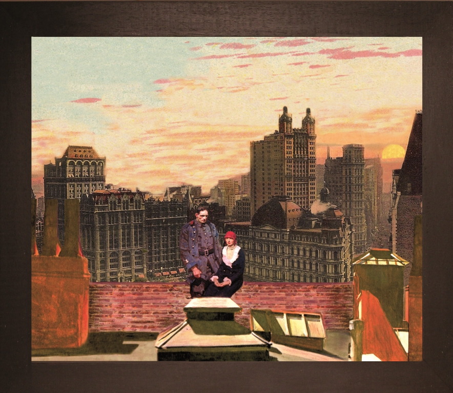 Tramonto al City Hall Park N.Y.C - Teatrino 3D Collage in scatola di ayous, tecnica mista, 33 x 28 x 8