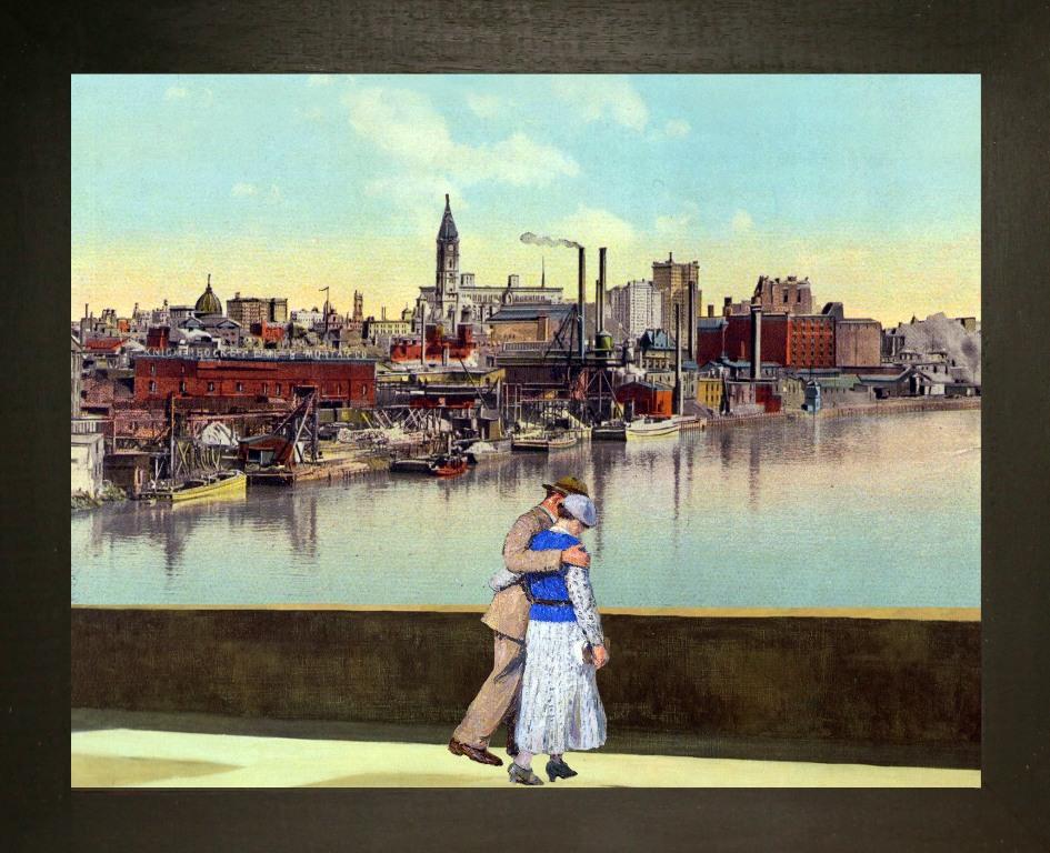 Schuylkill River,Philadelphia - Teatrino 3D. Collage in scatola di ayous, tecnica mista,33 x 27,5 x 8-1