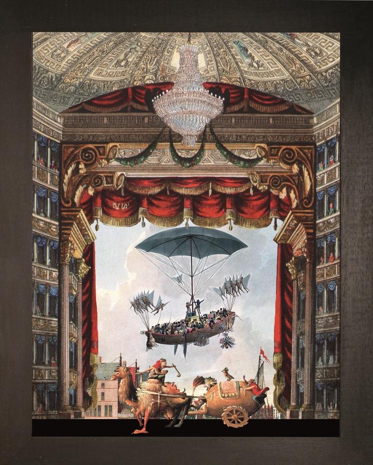 Corteo magico verticale Teatrino 3D, collage in scatola di ayous, tecnica mista, 39 x 33 x 8