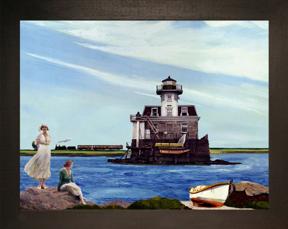 Light-house Narragansett Bay, R.I. Teatrino 3D. Collage in scatola di ayous, tecnica mista. 37 x 30 x 8