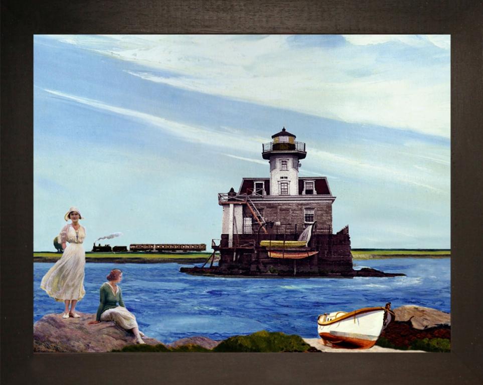 Light-house Narragansett Bay, R.I. Teatrino 3D. Collage in scatola di ayous, tecnica mista. 37 x 30 x 8