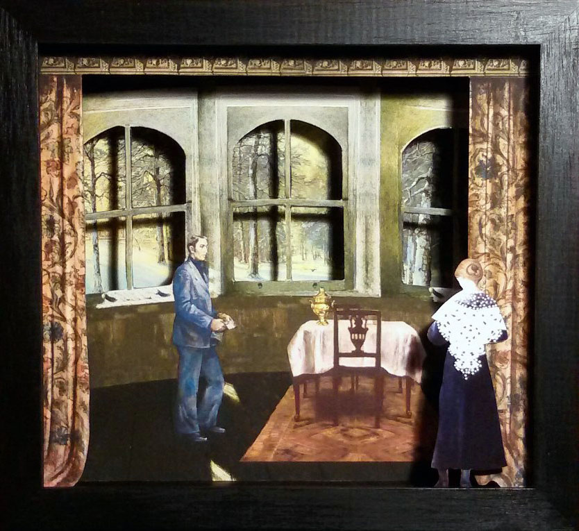 Non ci sarà nessuno a casa. PasternakTeatrino 3D collage in scatola di ayous, tecnica mista,33 x 30 x 8