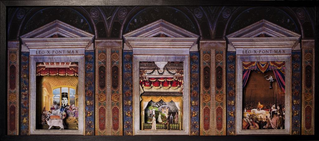 La poesia di Angelo Maria Ripellino nelle logge di Raffaello Collage 3 D in scatola di ayous, tecnica mista 135 x 60 x 10