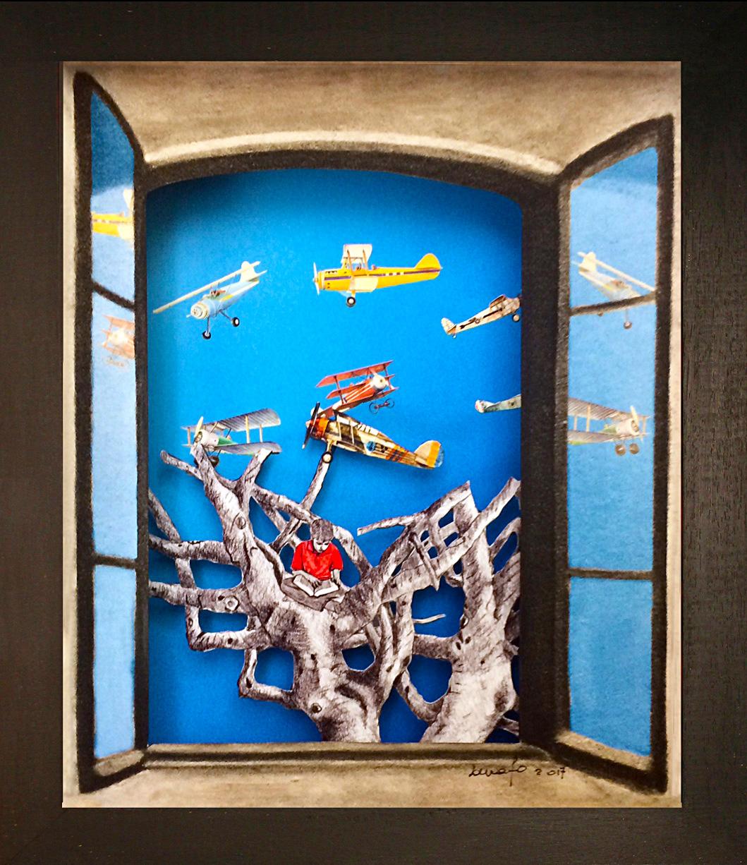 Questa libertà. Pierlugi Cappello Teatrino 3D Collage in scatola di ayous, tecnica mista 31,5 x 36,5 x 8 .jpg