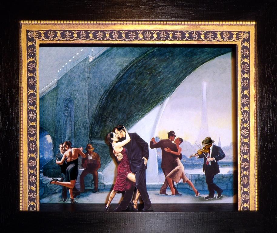 Tango in Paris, Teatrino 3D Collage in scatola di ayous, tecnica mista 35,5 X 25, X 8 jpg